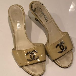 Chanel Double C Kitten Heel Slides